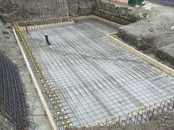 Steel work in place for concrete foundation slab